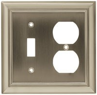 Liberty Hardware 64171, Single Switch with Duplex Wall Plate, Length 4-7/8, Satin Nickel, Architectural