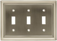 Liberty Hardware 64174, Triple Switch Wall Plate, Length 4-7/8, Satin Nickel, Architectural