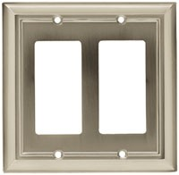 Liberty Hardware 64175, Double GFCI Rocker Wall Plate, Length 6, Satin Nickel, Architectural