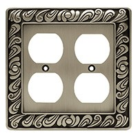 Liberty Hardware 64196, Double Duplex Wall Plate, Brushed Satin Pewter, Paisley Collection