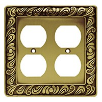 Liberty Hardware 64197, Double Duplex Wall Plate, Tumbled Antique Brass, Paisley Collection