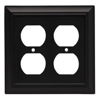 Liberty Hardware 64210, Double Duplex Wall Plate, Flat Black, Architectural Collection