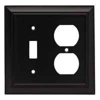Liberty Hardware 64213, Single Switch/Duplex Wall Plate, Flat Black, Architectural Collection