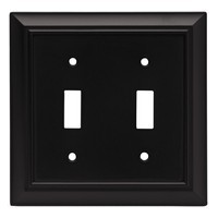Liberty Hardware 64217, Double Switch Wall Plate, Flat Black, Architectural Collection