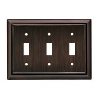 Liberty Hardware 64235, Triple Switch Wall Plate, Venetian Bronze, Architectural Collection