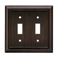 Liberty Hardware 64239, Double Switch Wall Plate, Antique Bronze, Architectural