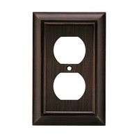 Liberty Hardware 64240, Single Duplex Wall Plate, Antique Bronze, Architectural