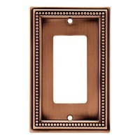 Liberty Hardware 64242, Single Decorator Wall Plate, Aged Brushed Copper, Beaded