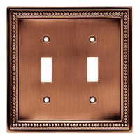 Liberty Hardware 64243, Double Switch Wall Plate, Aged Brushed Copper, Beaded