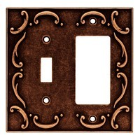 Liberty Hardware 64248, Single Switch/Decorator Wall Plate, Sponged Copper, French Lace Collection
