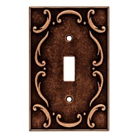 Liberty Hardware 64268, Single Switch Wall Plate, Sponged Copper, French Lace Collection