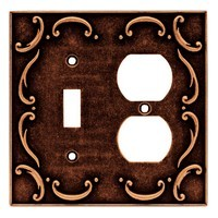 Liberty Hardware 64275, Single Switch/Duplex Wall Plate, Sponged Copper, French Lace Collection