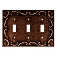 Liberty Hardware 64279, Triple Switch Wall Plate, Sponged Copper, French Lace Collection