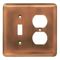 Liberty Hardware 64355, Single Switch/Duplex Wall Plate, Antique Copper, Stamped Round