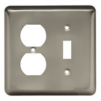 Liberty Hardware 64358, Single Switch/Duplex Wall Plate, Satin Nickel, Stamped Round Collection