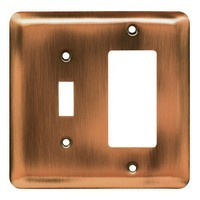 Liberty Hardware 64366, Single Switch/Decorator Wall Plate, Antique Copper, Stamped Round