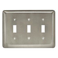 Liberty Hardware 64380, Triple Switch Wall Plate, Satin Nickel, Stamped Round Collection