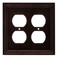 Liberty Hardware 64402, Double Duplex Wall Plate, Venetian Bronze, Beaded Collection
