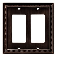 Liberty Hardware 64403, Double Decorator Wall Plate, Venetian Bronze, Beaded Collection