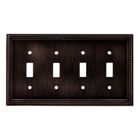 Liberty Hardware 64404, Quad Switch Wall Plate, Venetian Bronze, Beaded Collection