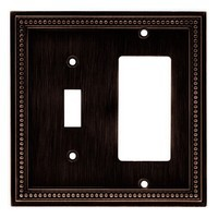Liberty Hardware 64407, Single Switch/Decorator Wall Plate, Venetian Bronze, Beaded Collection