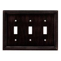 Liberty Hardware 64408, Triple Switch Wall Plate, Venetian Bronze, Beaded Collection