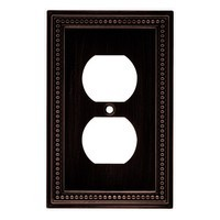Liberty Hardware 64410, Single Duplex Wall Plate, Venetian Bronze, Beaded Collection
