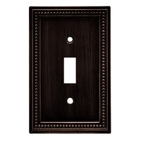 Liberty Hardware 64411, Single Switch Wall Plate, Venetian Bronze, Beaded Collection
