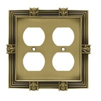 Liberty Hardware 64468, Double Duplex Wall Plate, Tumbled Antique Brass, Pineapple