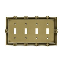 Liberty Hardware 64471, Quad Switch Wall Plate, Tumbled Antique Brass, Pineapple