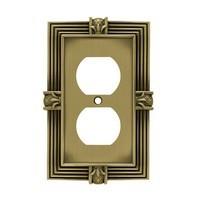 Liberty Hardware 64472, Single Duplex Wall Plate, Tumbled Antique Brass, Pineapple