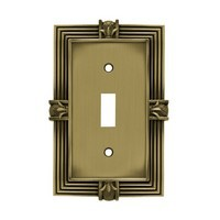 Liberty Hardware 64474, Single Switch Wall Plate, Tumbled Antique Brass, Pineapple