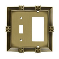 Liberty Hardware 64476, Single Switch/Decorator Wall Plate, Tumbled Antique Brass, Pineapple Collection