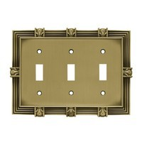 Liberty Hardware 64477, Triple Switch Wall Plate, Tumbled Antique Brass, Pineapple Collection
