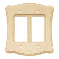 Liberty Hardware 64630, Double Decorator Wall Plate, Unfinished Wood, Wood Scalloped Collection