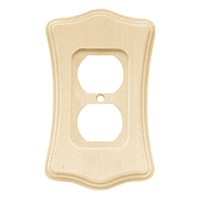 Liberty Hardware 64637, Single Duplex Wall Plate, Unfinished Wood, Wood Scalloped Collection