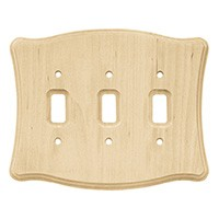 Liberty Hardware 64646, Triple Switch Wall Plate, Unfinished Wood, Wood Scalloped Collection