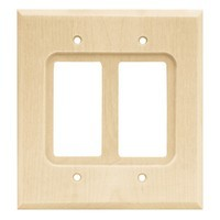 Liberty Hardware 64655, Double Decorator Wall Plate, Unfinished Wood, Wood Square