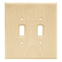 Liberty Hardware 64656, Double Switch Wall Plate, Unfinished Wood, Wood Square
