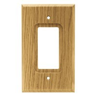 Liberty Hardware 64670, Single Decorator Wall Plate, Medium Oak, Wood Square Collection