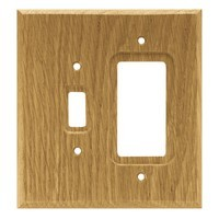 Liberty Hardware 64679, Single Switch/Decorator Wall Plate, Medium Oak, Wood Square Collection