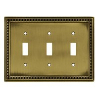 Liberty Hardware 64736, Triple Switch Wall Plate, Tumbled Antique Brass, Beaded