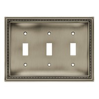 Liberty Hardware 64737, Triple Switch Wall Plate, Brushed Satin Pewter, Beaded Collection