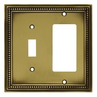 Liberty Hardware 64739, Single Switch/Decorator Wall Plate, Tumbled Antique Brass, Beaded