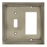 Liberty Hardware 64740, Single Switch/Decorator Wall Plate, Brushed Satin Pewter, Beaded Collection
