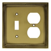 Liberty Hardware 64765, Single Switch/Duplex Wall Plate, Tumbled Antique Brass, Beaded