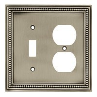 Liberty Hardware 64766, Single Switch/Duplex Wall Plate, Brushed Satin Pewter, Beaded Collection