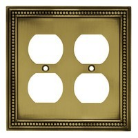 Liberty Hardware 64767, Double Duplex Wall Plate, Tumbled Antique Brass, Beaded