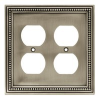 Liberty Hardware 64768, Double Duplex Wall Plate, Brushed Satin Pewter, Beaded Collection