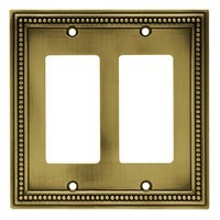 Liberty Hardware 64769, Double Decorator Wall Plate, Tumbled Antique Brass, Beaded